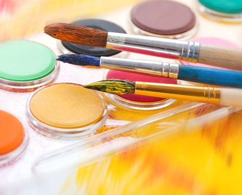 How To Be Creative, Paintbrushes And Colors Of Paint.